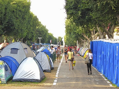 Tent City on Rothschild Blvd in Tel Aviv